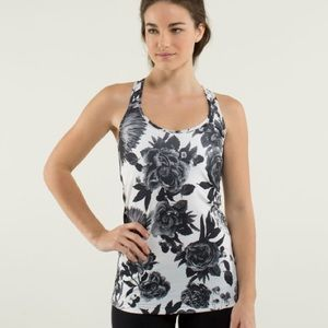 Lululemon Cool Racerback Brisk Bloom Black White